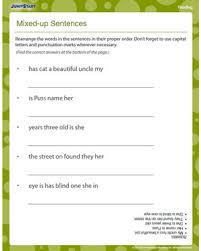 mixed up sentences u2013 printable 1st grade reading worksheet u2013 jumpstart