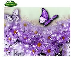 Purple Butterfly Decorations Purple Butterfly Beautiful Flower 5d Diamond Painting Pattern