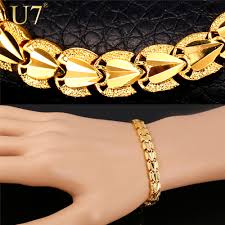 gold chain love bracelet images U7 love heart jewelry bracelets for women men valentines gift gold jpg