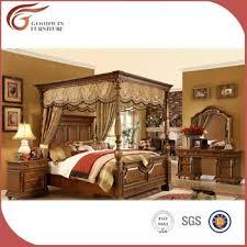 luxury royal solid wood bedroom furniture set king canopy bedroom