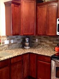 Backsplash Ideas Cherry Cabinets Kitchen Backsplash Ideas With Cherry Cabinets Beautiful Airstone