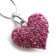 pink jewelry necklace images Small love pink heart valentine 39 s day pendant necklace charm lady jpg
