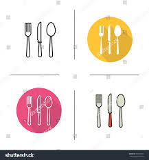cutlery flat design linear color icons stock vector 365392970