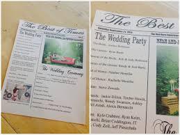 Newspaper Wedding Program Ashley Thunder Events The Best Of Times Wedding Ceremony Program