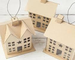 putz house ornaments set of 3 plain cardboard cottages smile