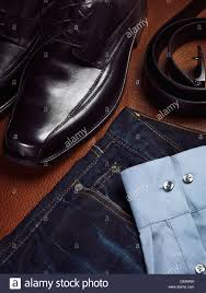 mens fashion still life artistic closeup of dress shoes jeans a