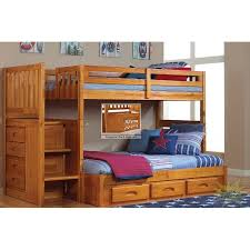 Bunk Bed With Stairs And Desk by Twin Full Mission Staircase Bunk Bed