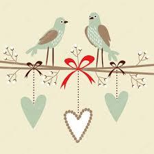 valentine wedding birthday card or invitation with birds hearts