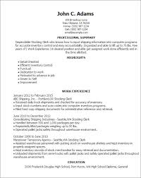 Warehouse Clerk Resume Sample Professional Stocking Clerk Templates To Showcase Your Talent