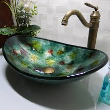 green glass vessel bathroom sinks best bathroom tempered glass sink handcraft counter top boat