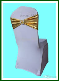 chair bands polyester gold chair bands with plastic buckle chair cover sash