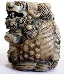 shishi statue 19th century japanese carved shishi lion netsuke