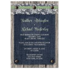 reception invitations only invitations denim wood country rustic