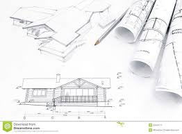 architectural drawing with blueprints and rolls stock photo architectural architecture
