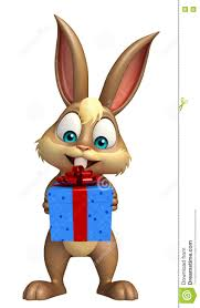 fun bunny cartoon character with gif box stock illustration
