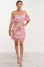 akira fringe and pearl mini halter dress in black white pink