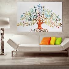Modern Art Home Decor 75x50cm Picture Abstract Colorful Leafy Tree Unframed Canvas Print
