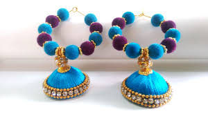 fancy jhumka earrings blue and purple fancy beaded silk thread jhumka earrings