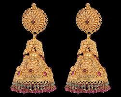 bridal jhumka earrings gold earring designer gold earring manufacturer from nashik