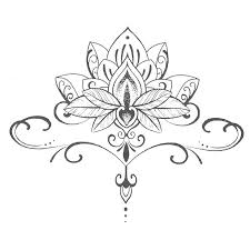 waterproof temporary stickers buddha lotus flowers