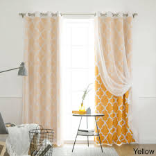 Yellow Grommet Curtain Panels by Aurora Home Mix And Match Curtains Muji Sheer Moroccan 84 Inch 4