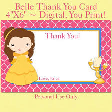 printable thank you cards princess printable belle notecard birthday thank you card digital notecard