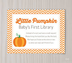 instead of a card bring a book baby shower pumpkin book request card pumpkin baby shower bring a