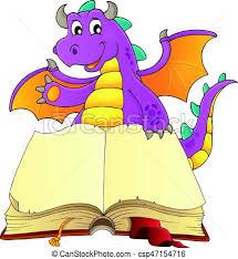 vector clip art open book happy dragon illustration