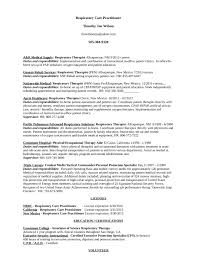 Sample Resume For Therapist by Respiratory Therapy Cover Letter