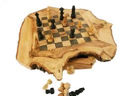 rustic chess set engraved olive wood custom natural edge