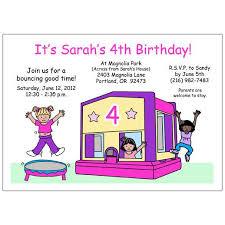 bounce house birthday invitation pink purple mandys