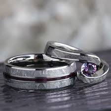 Engagement Ring With Wedding Band by Gibeon Meteorite Wedding Ring Set Alexandrite Engagement Ring