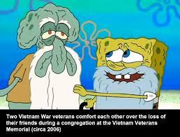 hey squidward i bet old sergeant krabs will show up any day