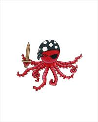 pirate octopus print children u0027s wall art and by fischtaledesigns