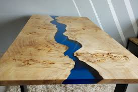live edge river table epoxy blue river table with epoxy inlay table pinterest epoxy