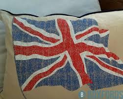 Blue Union Jack Cushion Vintage Linen Large Union Jack Flag Cushion