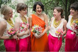 bridesmaid statement necklaces wedding trends bridesmaids in skirts how to styled