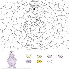 free printable number coloring pages cartoon hippo color by number free printable coloring pages