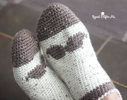 crochet mustache slipper socks for men repeat crafter me