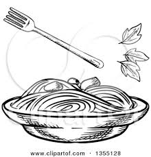 clipart of a sketched bowl of spaghetti royalty free vector