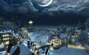 houses night christmas scenery winter town flying santa