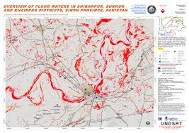 sukkur map overview of flood waters in shikarpur sukkur and khairpur