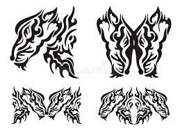 tribal tattoo wild fox elements stock vector image 47657625