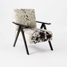West Elm Cowhide Rug Retro Cowhide Chair Black White West Elm