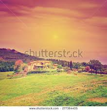 big farmhouse big farmhouse surrounded by fields tuscany stock photo 277364405