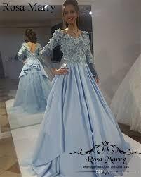 light blue long sleeve dress light blue muslim arabic prom dresses 3d flowers 2017 a line long