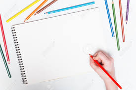 colored writing paper girl draws with colored pencils on paper mockup stock photo girl draws with colored pencils on paper mockup stock photo 51349609