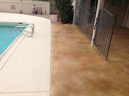 Tiling A Concrete Patio by Stained Concrete Patio Overlay Installation And Pool Deck Addition