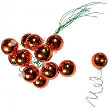 30mm metallic ball ornament on wire copper orange 72 xh821348