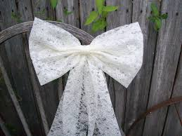 lace pew bow ivory bow white lace bow wedding aisle decor